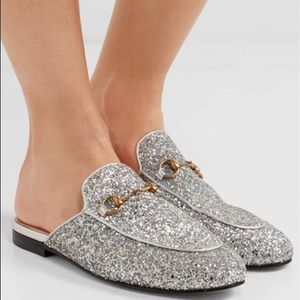 Gucci Silver Glitter Princetown Loafer Mules
